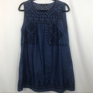 HOMEY PUNCH DENIM Dress Embroidered Sleeveless M